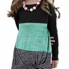 Green Little Girls Twisted Knot Color Block Long Sleeve Top