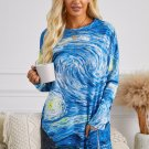 Blue Star Printing Long Sleeve Tunic Top With Two Side Pockets