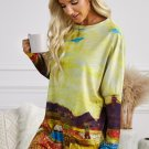 Multicolor Field Printing Tunic Top With Two Side Pockets