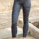 Black High Waist Tummy Control Zebra Stripes Print Leggings