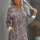 Pink Crew Neck Long Sleeve Leopard Print Mini Dress