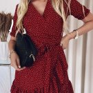 Red Bohemian Dotted Print Wrap V Neck Ruffled Mini Dress