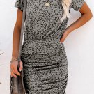 Leopard Short Sleeve Ruched Bodycon Mini Dress