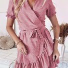 Pink Bohemian Dotted Print Wrap V Neck Ruffled Mini Dress
