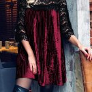 Burgundy Lace Patch 3/4 Sleeve Pleated Velvet Dress