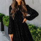 Black Crew Neck Long Sleeve Polka Dot Ruffle Lace Midi Dress