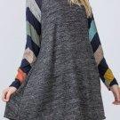 Dark Gray Colorful Striped Long Sleeves Mini Dress