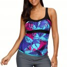 Blue Abstract Printed Camisole Tankini Top