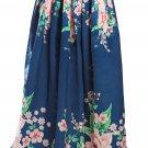 Navy Coral Floral Elegant Flared Maxi Skirt