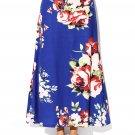 Blue Vibrant Floral Print Long Maxi Skirt