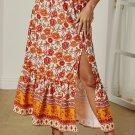 Orange Floral Print Maxi Skirt