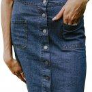 Blue Chic Button up Denim Skirt