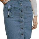 Sky Blue Chic Button up Denim Skirt