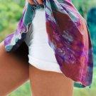 Purple Double Decker Tie Dye High Waist Sports Skirt Shorts