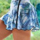 Sky Blue Double Decker Tie Dye High Waist Sports Skirt Shorts