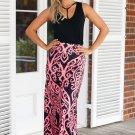 Coral Tendril Printed Maxi Skirt