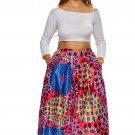 Vintage High Waist Africa Print A-lined Midi Skirt
