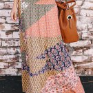 Orange Boho Print Tie-Up Waist Long Maxi Skirt