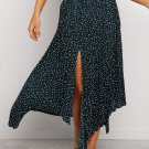 Green Fashion Print Side Slit Pleated Maxi Skirt