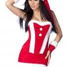 Red Velvet Bustier Christmas Costume Set