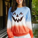 Ombre Color Block Halloween Pumpkin Sweatshirt