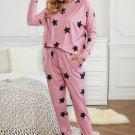 Pink Star Print Two-Piece Set Sports Wear