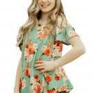 Green Floral Print Cold Shoulder Top for Girls