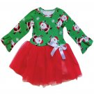 Green Red Santa Snowflack Print Christmas Toddler Dress
