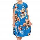 Blue Short Sleeve Floral Print Toddler Dress