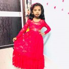 Red Floral Lace Flower Girl Maxi Dress