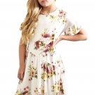White Girls Floral Print Dress