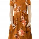 Orange Short Sleeve Pocketed Children's Floral Dress