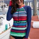 Multicolor Striped Long Sleeve Front Zip Rashguard Top