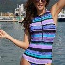 Purplish Multi Striped Zip Front One Piece Swimsuit
