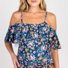 Blue Floral Ruffle Trim Ruched One Piece Maternity Swimsuit