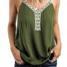 Green Sleeveless Lace V Neckline Tank Top