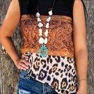 Leopard Buckstitch Black Color-block T Shirt