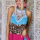 Lace Leopard Colorblock Tank Top