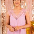 Pink V Neck Blush Lace Tank