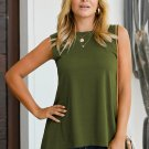 Green Relaxed Flowy Tank Top