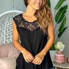 Black Sleeveless Top with Lace Detail