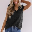 Black Swiss Dot Woven Sleeveless Top With Ruffled Straps
