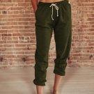 Green Drawstring Waist Pockets Sweatpants