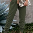 Green Wide Waistband Pocketed Joggers