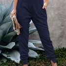 Blue Wide Waistband Pocketed Joggers