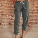 Gray Drawstring Waist Pockets Sweatpants