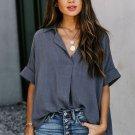 Short Sleeve Button Solid Shirt