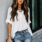 White Short Sleeve Button Solid Shirt