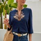 Blue Boho Embroidered V Neck 3/4 Sleeve Casual Blouse