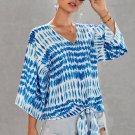 Blue Floral Printed Deep V Neck Tie Front Blouse